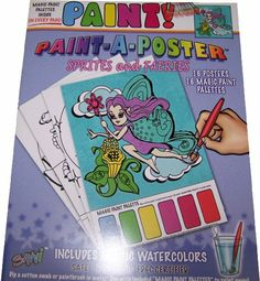 """""""Paint A Poster"""" Paint with Water Coloring Book - Sprites And Faeries by Savvi. $100.00. Simply dip a cotton swab or paintbrush (not included) in water, and paint!. Every page includes a Magic Paint Palette of rich, vibrant colors!. Each Paint-a-Poster is 8.5 x11 inches.. Kids can paint 16 beautiful posters with this unique coloring book.. High-quality paper holds up well to water.. This is a neat, no-mess project - it requires only the smallest amount of water required..."""