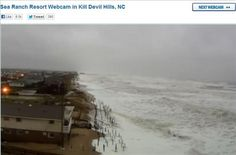 KDH and Kitty Hawk flooding | OBX Connection Message Board/Sea Ranch resort webcam in Kill Devil Hills/ Ocean washing right up to the dunes during hurricane Sandy 10/29/12/ Certainly not much beach left to see!