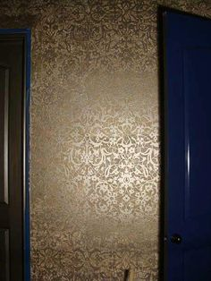 Arabesque Moroccan Stencil with a gorgeous allover glass bead wall finish by Easel Designs. Stunning! | Royal Design Studio