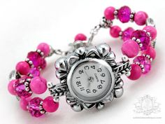 Gladiolus Pink Bracelet Wrist Watch  pink by OohlalaBeadtique, $22.00