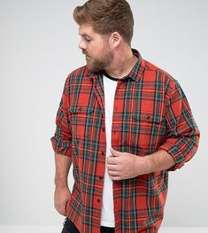 ASOS PLUS Plaid Check Overshirt - Red