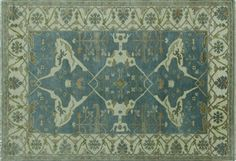 Turkish Oushak Blue Hand Knotted Oriental Wool Rug