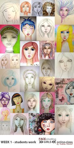 FACEcinating Girls - Online Class Students Work - Week 1 http://andrea-gomoll.de/facecinatinggirls/