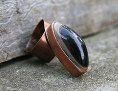 copper ring onyx ring gemstone ring handmade by Blacksmithworkshop