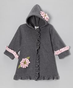 Take a look at this Gray & Pink Fleece Hooded Swing Coat - Infant, Toddler & Girls on zulily today!
