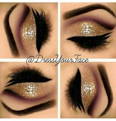 Maroon and Gold party makeup