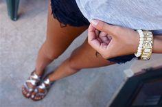 legs, tan, girl, summer, sunburn, sunburned, trashed jeans, trashed shorts, jeans, shorts, black jeans, legs, silver, bracelet, bangles, nail polish, top, fashion, trend, inspo, thinspo, fit, fitspo, skinny, tan, sun