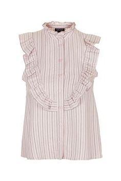 Sleeveless Ruffle Stripe Shirt
