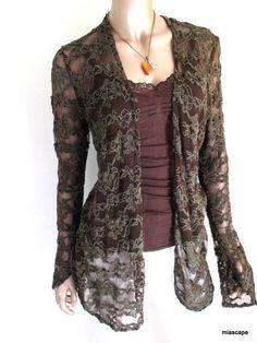 SURREALIST USA Breezy Mocha Green Pucker Jacket NWT $197 Stretch Lace Chanille #SurrealistUSA #LayeringOpenJacket