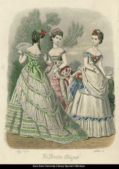 oldrags:  Evening dresses, 1870, Le Monde Elegant
