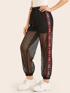 Shein Star and Letter Tape Side Fishnet Mesh Overlay Wind Pants Girls Fashion Clothes, Fashion Pants, Girl Fashion, Fashion Outfits, Cute Comfy Outfits, Trendy Outfits, Lace Pants, Mesh Pants, Comfy Pants