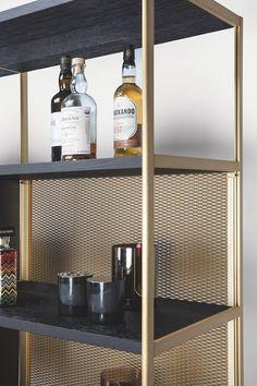 BC 06 Room 68 by Janua Bar Shelves, Shelving, Deco Furniture, Furniture Design, Back Bar Design, Steel Bookshelf, Cafe Interior, Interior Design, Regal Design