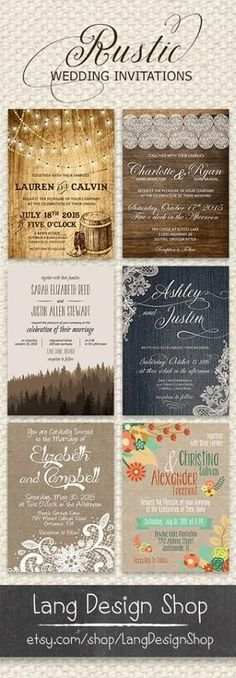 Rustic Wedding invitation collection. Many varieties available for each rustic wedding set. http://www.zazzle.com/LangDesignShop?rf=238757713317449265