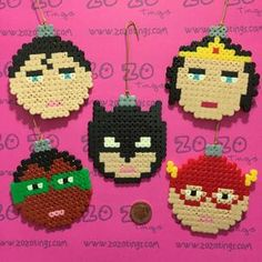 ► These are a truly original design created by Zo Zo Tings ◄The Justice League, also called the Justice League of America or JLA, is a fictional superhero team Pearler Bead Patterns, Perler Patterns, Christmas Perler Beads, Christmas Ornaments, Beading For Kids, Beaded Banners, Hama Beads Design, Peler Beads, Iron Beads