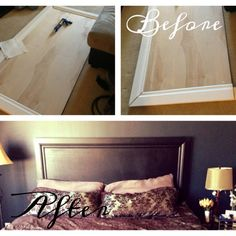DIY HEADBOARD for master bedroom  super chic and modern very easy to do yourself * glue molding and sheet wood from home depot together and paint! Then drill to wall and done! Home decor