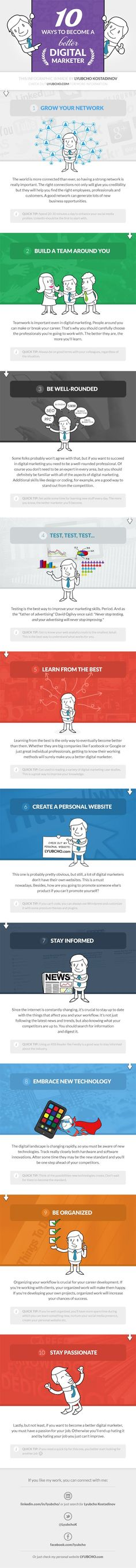 10 Ways to Become a Better Digital Marketer / INFOGRAPHIC
