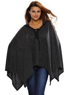 Fashion Loose V Neck Hooded Lace-up Cloak Blouse For Women