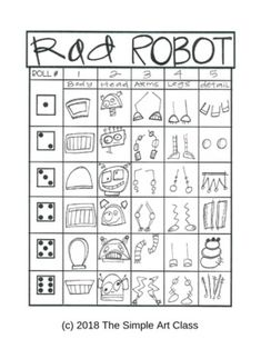 Art Games For Kids, Drawing Games For Kids, School Age Activities, Art Therapy Activities, Art Sub Plans, 2nd Grade Art, Art Worksheets, Art Lessons Elementary, Robot Art