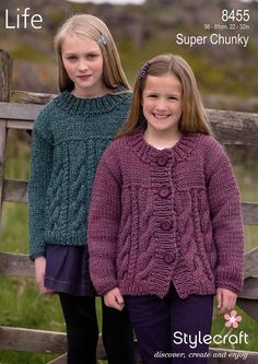 Cardigan and Sweater in Stylecraft Life Super Chunky - 8455 - Cardigans - Project - Patterns Knitting For Kids, Easy Knitting, Girls Sweaters, Baby Sweaters, Poupées Our Generation, Super Chunky Wool, Chunky Girls, Chunky Knitting Patterns, Cardigan Pattern