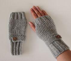Fingerless Gloves in Grey Aran Wool  £15.00