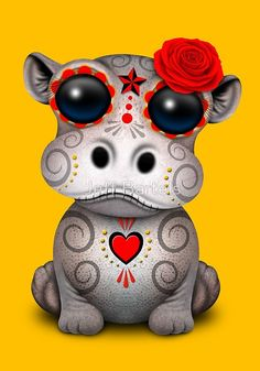 'Yellow and Red Day of the Dead Baby Hippo' Art Print by jeff bartels Sugar Skull Tattoos, Sugar Skull Art, Sugar Skulls, Hippo Tattoo, Hippo Drawing, Baby Animals, Cute Animals, Wild Animals, Red Day