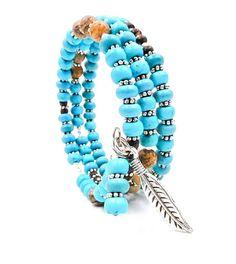 Turquoise bracelet turquoise wrap bracelet memory wire