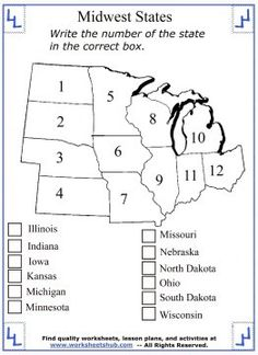 Printable study guides and worksheets covering the mid west United States region. Find more social studies lessons and maps when you visit.