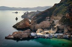 the little fishing village of Firopotamos in Milos island, Greece, early in the morning( by Alexis Bazeos) Greece Vacation, Greece Travel, The Beautiful Country, Beautiful Places, Amazing Places, Mykonos, Santorini, Exotic Beaches, Fishing Villages
