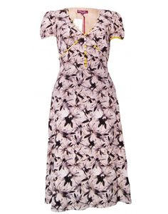 Project D Silk Floral Tea Dress, Brown/White, UK 8  floral pattern all over with yellow trims  Comes to below the knee  tie around waist  100% silk, lining 100% silk  dry clean  marked size UK 10  new, with tags, perfect condition