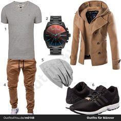 Cooles Herren-Outfit mit Tommy Hilfiger Shirt, Diesel Uhr, schickem Zweireiher, Betterstylz Hose, Mütze von Stylebreaker und Adidas ZX Flux.