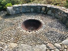 The mosaic stone firepit – created by designer Jeffrey Bale Pebble Mosaic, Stone Mosaic, Pacific West, Rock Wall, Garden Accessories, Plant Design, Native Plants, Garden Inspiration, Botanical Gardens