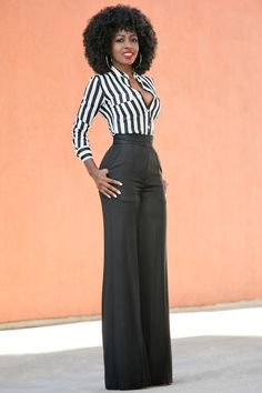 Fitted Striped Shirt + High Waist Pintucked Trousers