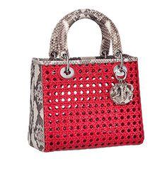 python e trama cannage vermelha na Lady Dior que é tudo.....