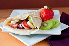 a sweet tortilla wrap with fruit and powdered sugar...delicious. A blog completely dedicated to food...Uh-mazing!!!    http://pantryparades.tumblr.com/