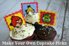Make Your Own Angry Bird Cupcake Picks {Craft Tutorial}