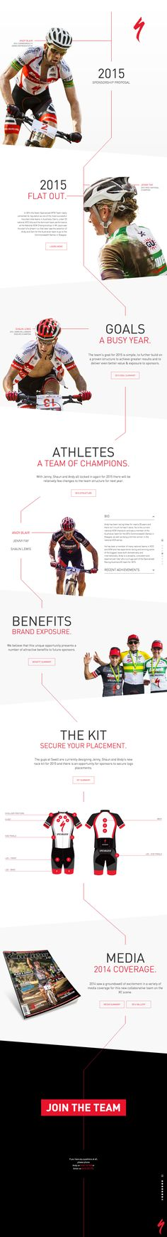 Sponsorship proposal in a smart one page website for 'Swell Specialized' mountain bike team. There is a nice clean and clear layout throughout the long one pager. Also really like that sponsorship kit placement infographic.