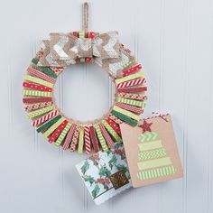 Washi Tape And Clothes Pins Gets You This Adorable DIY Card Holder  Christmas Wreath.