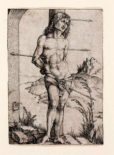 Albrecht Dürer, St. Sebastian at the Column (1499-1500) on ArtStack #albrecht-durer #art