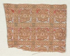 Silk Fragment, c. 1279  Spain, Islamic period, 13th century  compound cloth with areas of double cloth; silk and gold, Overall - h:10.00 w:7.65 cm (h:3 7/8 w:3 inches). 1942.1077. Click for image of the back (shows that it is double weave)