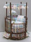 Miniature 1 inch scale Round crib by Stockton Miniatures. They are also perfect at special orders.