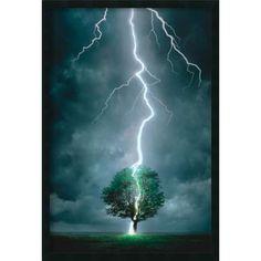 Framed Art Print Lightning Striking Tree 26 x 38-inch