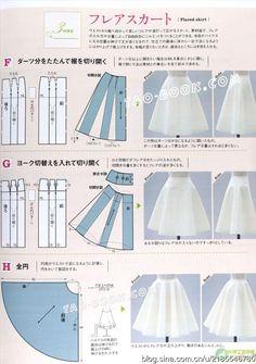 [转载]【裁剪资料】style book杂志讲解原型变化-裙子 <- no idea what this says....but i like the pictures