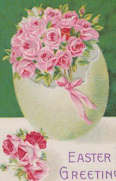 Pink Roses Inside Eggshell Easter Postcard