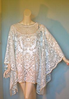 Vintage Crochet Lace Dress Kaftan Angel Sleeve Poncho Hippie