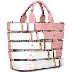 2-In-1 Medium Tote with Buckle Details (€20) ❤ liked on Polyvore featuring bags, handbags, tote bags, buckle purses, white tote bag, buckle handbags, white handbags and white tote