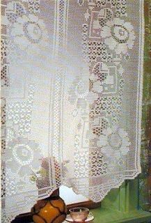 Tina's handicraft : crochet curtain with flowers