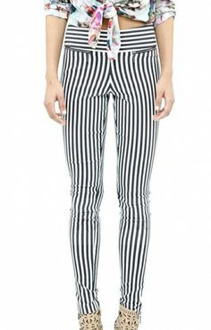 Vertical Stripes Printing Zippers Decorated Trousers