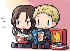Captain America and Bucky The Winter Soldier Avengers Cartoon, Baby Avengers, Marvel Avengers, Baby Marvel, Chibi Marvel, Marvel Art, Marvel Comics, Stucky, Sebastian Stan