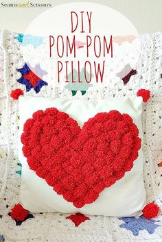 DIY Pom Pom Pillow - heart shaped pillow for valentine's day sewing!