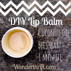 Thrifty DIY lip balm with coconut oil and bees wax - coconut oil moisturises and bees wax acts like a barrier. Perfect for children and easy for them to make too!